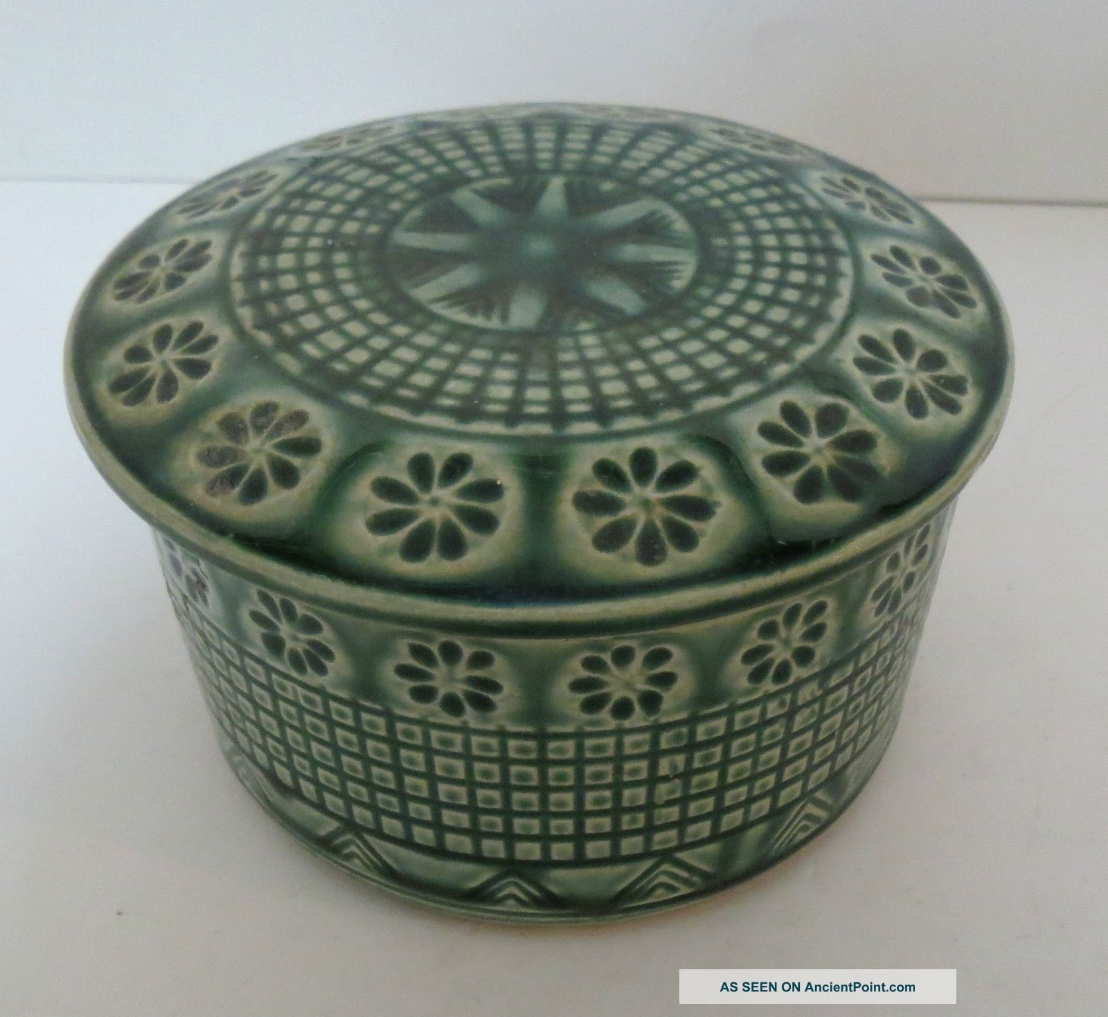 Antique Chinese Or Japanese Ceramic Pottery Covered Dish Box Exquisite Glaze Boxes photo