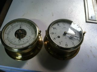 Vintage Schatz Royal Mariner Ships Clock And Barometer.  Excellent Working photo