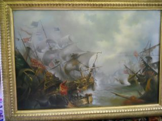 Warship Sea Battle Of Kamperduin - 19th Century. .  Oil On Board - Unique Staving photo