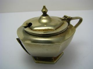 British Silver Plated Mustard Pot From T.  S.  S.  Caledonia Ship Endland Ca1900s Rare photo