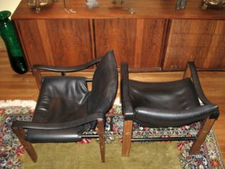 Maurice Burke Arkana Safari Sling Chairs Black Wood Metal Scotland Mid Century photo