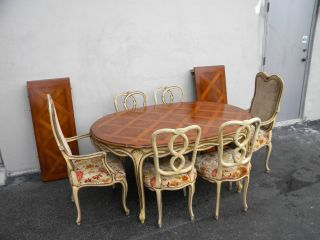 French Painted Parquet Dining Table With 6 Chairs & 2 Leaves By Karges 3620 photo