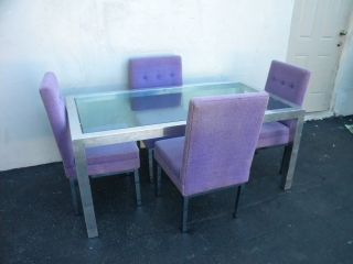 Mid - Century Modern Glass - Top Dining Table With 4 Chairs By Selig 3285 photo