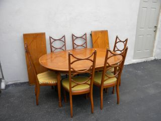 Mid - Century Dining Table With 6 Chairs & 2 Leaves By Tomlinson 3328 photo