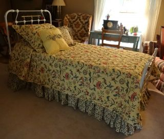 Classic Antique White Iron & Brass Twin Bed Late 1800s To Early 1900s photo