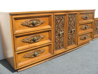 Spanish Style Bedroom Set ' Permacraft ' Dresser Headboard Nightstand Large Mirror photo