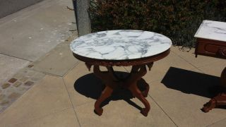 Vintage Marble Top Victorian Mahogany Tables 3 Piece Set Circa 1925 photo