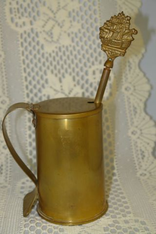 Antique Brass Fire Starter W/ Pumice Stone Pestle From Mitchell Canada 2 Pc Set pho