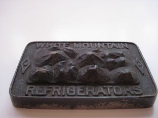 White Mountain Refrigerators Cast Iron Paperweight Maine Manf ' G Co. ,  Nashua,  Nh photo