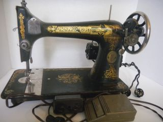 Antique Singer Treadle Sewing Machine Model 127 Sphinx Yr 1921 Champion Motor photo
