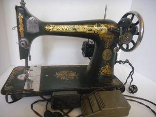 Antique Singer Treadle Sewing Machine Model 127 Sphinx Yr 1921 Champion Motor photo