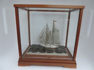Finest Japanese Two Masted Sterling Silver 960 Model Ship By Seki Takehiko Japan photo