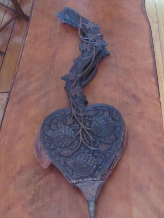 Antique Carved Black Forest Fire Bellows Large photo