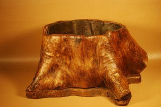 Japanese Antique Natural Wood Hibachi Vase Ikebana Flower Pot, photo