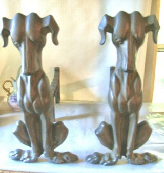 Andirons Vintage Cast Iron Dogs - - Deco Hounds photo