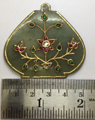 Rare Mughal Vintage Style Jade Pendant With 24 K Gold Ruby Emarald Uncut Diamond photo
