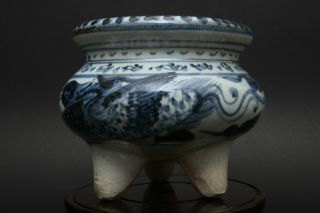 An Amazing Estate Chinese Blue And White Porcelain Incense Burner Yuan Style photo