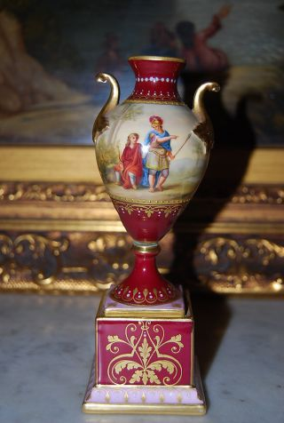 Royal Vienna Neoclassical Burgundy Vase Urn Hand Painted By K.  Woh photo