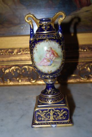 Royal Vienna Romantic Scene Vase Urn Cobalt Blue And Gold With Beading photo