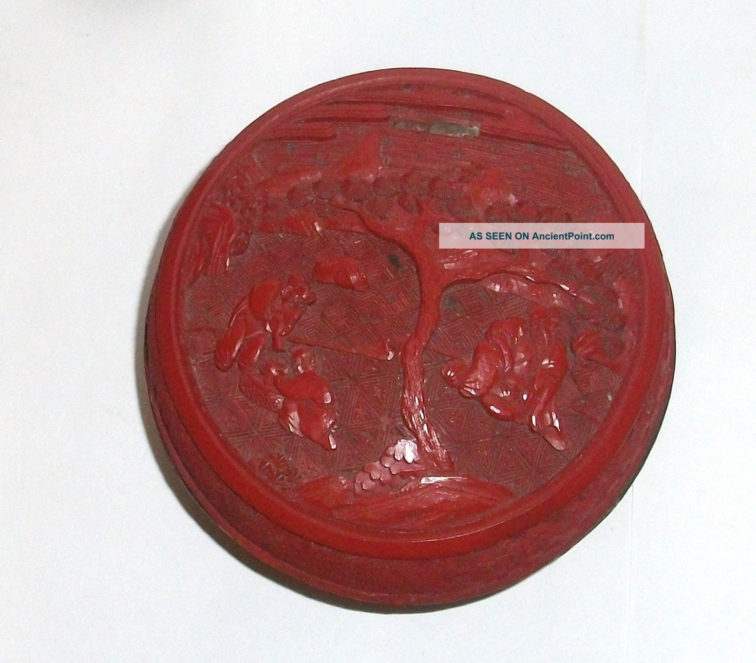Old 19th Century Chinese Floral Cinnabar Lacquer Jar Box Boxes photo