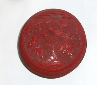 Old 19th Century Chinese Floral Cinnabar Lacquer Jar Box photo