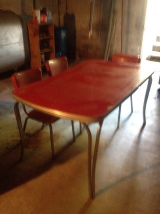 Red Formica Table And Chairs photo