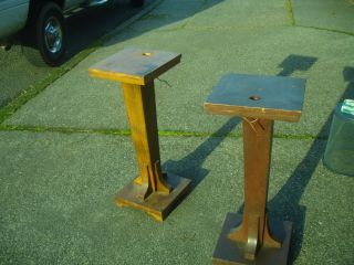 Antique Pair Arts & Crafts Plant Stand Table Floor Lamp Old Unusual Mixed Wood photo