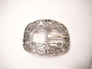 Silver Belt Buckle Antique Holland Lg Netherlands Dutch Silver Passant Lion Mark photo
