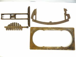 Antique Old Metal Cast Iron Woodstove Bracket Mystery Parts Hardware photo