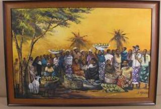 Large African Oil Painting Tribal Group Scene Signed John Njenga Kenya photo