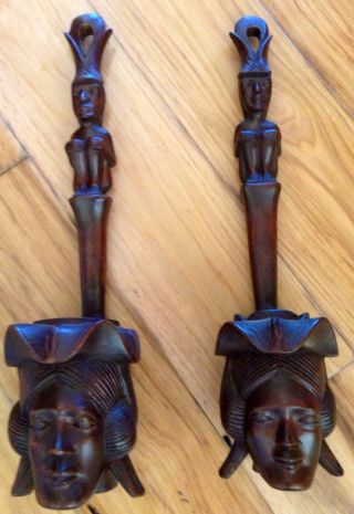 Antique Wood Carving African Tribal Primitive Sculpture Statue Wall Art Mask photo