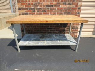 Antique Vintage Industrial Butcher Block Galvanized Steel Table photo