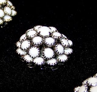 """Vintage 3 Buttons White Glass Rhinestone Cluster Prong Set In Silver 7/8"""" W ½"""" H photo"""