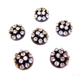 "Vintage 6 Black Plastic Dome Buttons W/ Sparkling Glass Rhinestones ¾""w X 3/8""h photo"