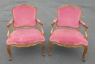 Pair Of French Provincial Ornate Carved Wood Pink Velvet Accent Arm Chairs photo