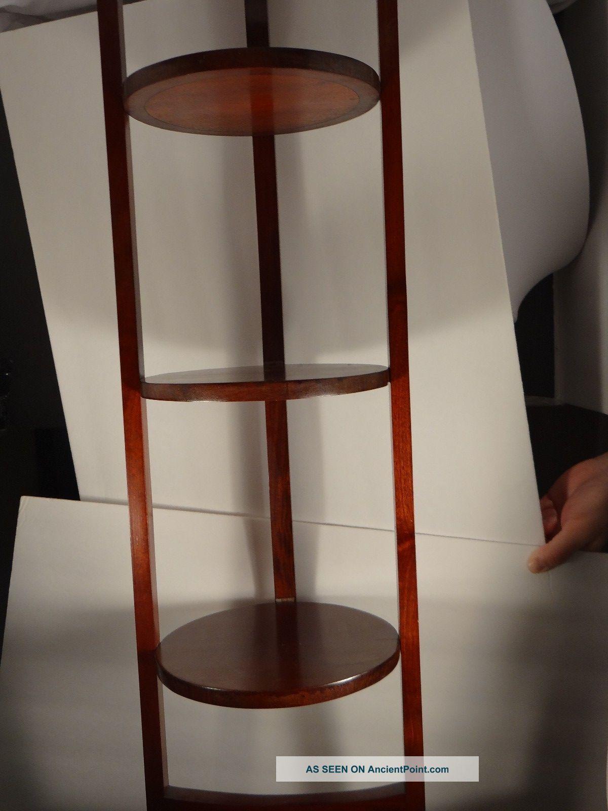 Solid Mahogany Three - Shelf Dish Stand,  Folds Up 1800-1899 photo