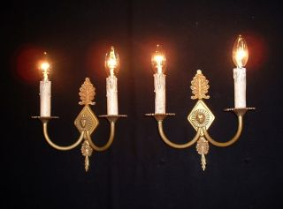 Vintage French Bonze Empire Style Sconces With Head Figures photo