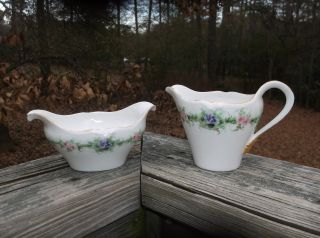 Limoges Porcelain Hand Painted Roses & Violets Cream Pitcher & Sugar Bowl 1894+ photo