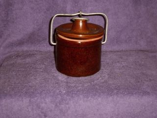 Brown Stoneware Ceramic Cheese Butter Crock Pot Jar photo