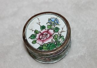 Antique Cloisonne Brass Lidded Box photo