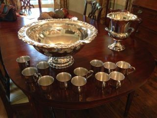 Silver Plate Punch Bowl Set photo
