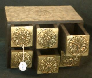 Wooden Box 6 Drawers Brass Copper Metal Fitted Rare Colonial Vintage Art Mughal photo