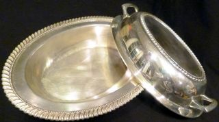 Vintage Silverplate Crescent Serving Bowl & Lid Combination 2907 photo