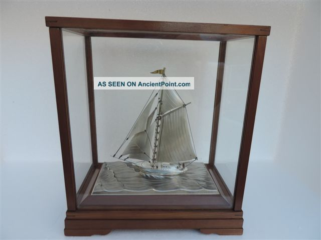 Masterly Hand Crafted Japanese Sterling Silver 960 Model Yacht By Seki Japan Nr Other photo