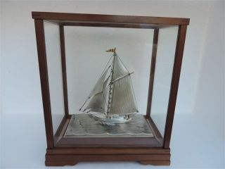 Masterly Hand Crafted Japanese Sterling Silver 960 Model Yacht By Seki Japan Nr photo
