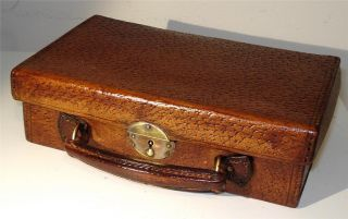 Vintage Antique Tiny Russian Leather & Brass Suitcase C.  1900 photo
