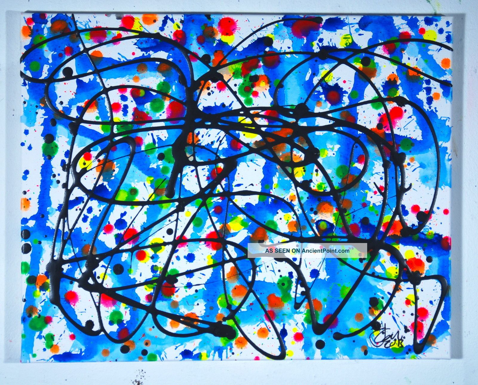 Jackson Pollock Style Mid Century Retro Modern Abstract Painting Pablo Picasso Mid-Century Modernism photo