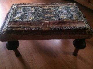 Early Beaded Upohlstered Covered Victorian Foot Stool photo