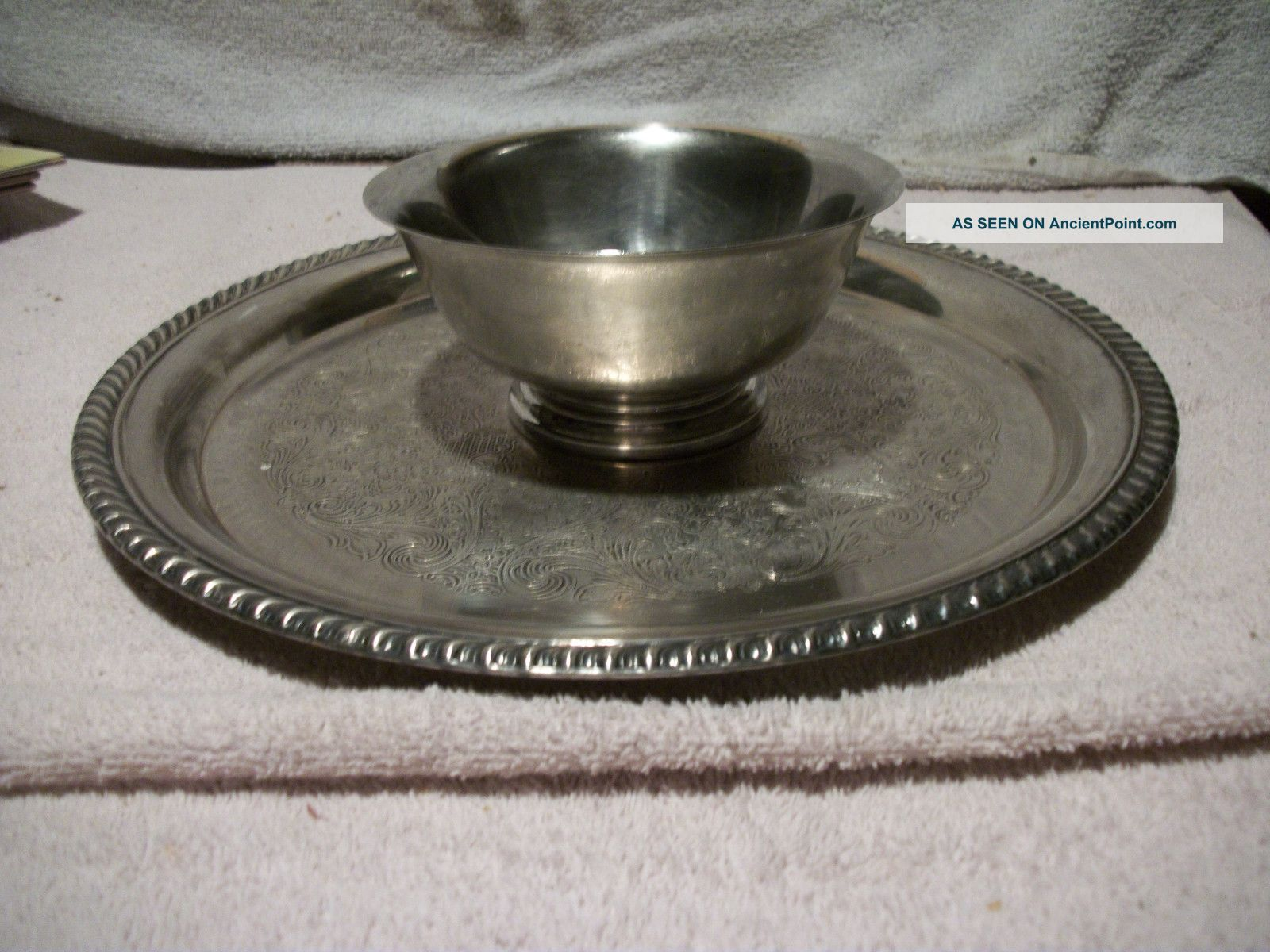 Vintage Paul Revere Reproduction Wm.  A.  Rogers Silverplate Bowl & Round Tray Creamers & Sugar Bowls photo