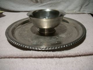 Vintage Paul Revere Reproduction Wm.  A.  Rogers Silverplate Bowl & Round Tray photo